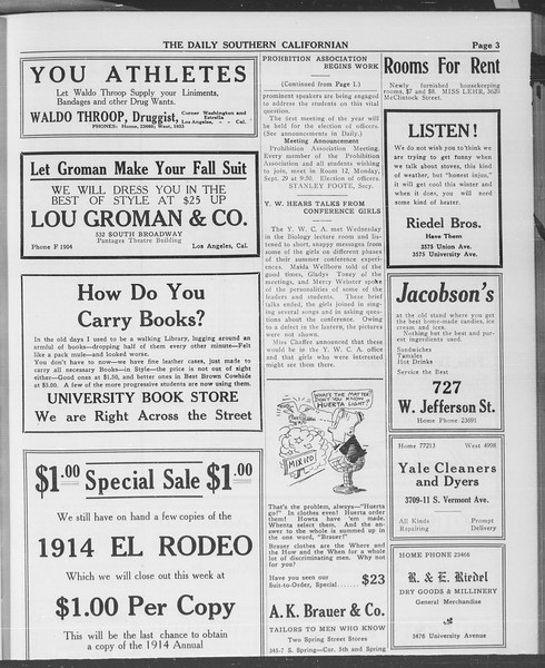 The Daily Southern Californian, Vol. 3, No. 9, September 25, 1913