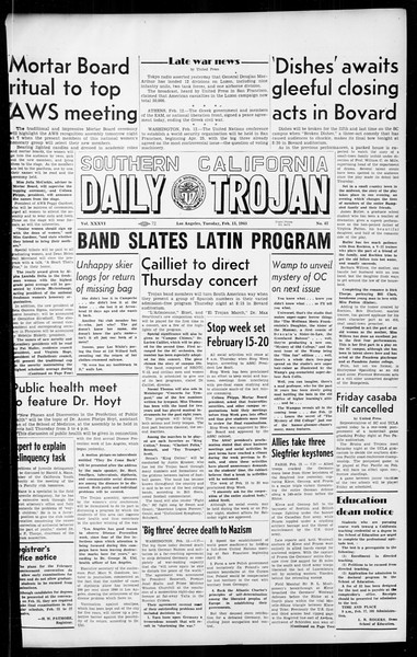 Daily Trojan, Vol. 36, No. 67, February 13, 1945