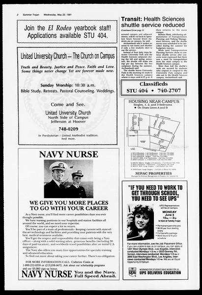 Summer Trojan, Vol. 115, No. 2, May 22, 1991