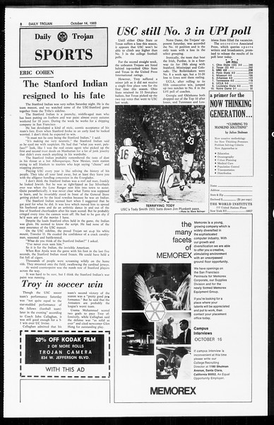 Daily Trojan, Vol. 61, No. 22, October 14, 1969