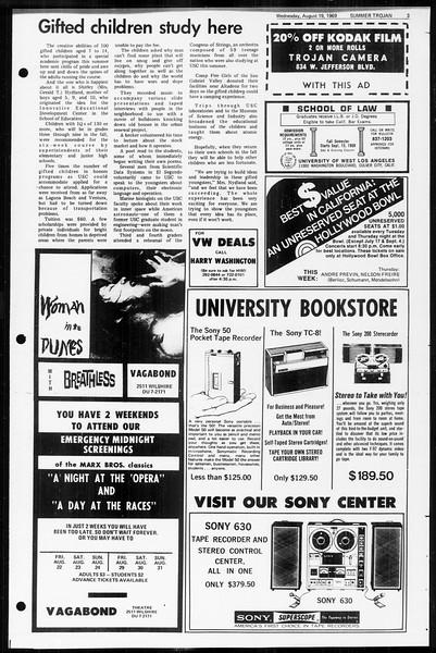 Summer Trojan, Vol. 60, No. 15, August 19, 1969