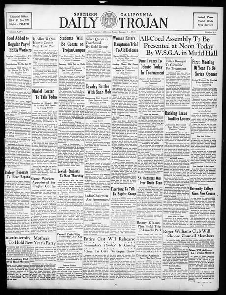 Daily Trojan, Vol. 26, No. 63, January 11, 1935