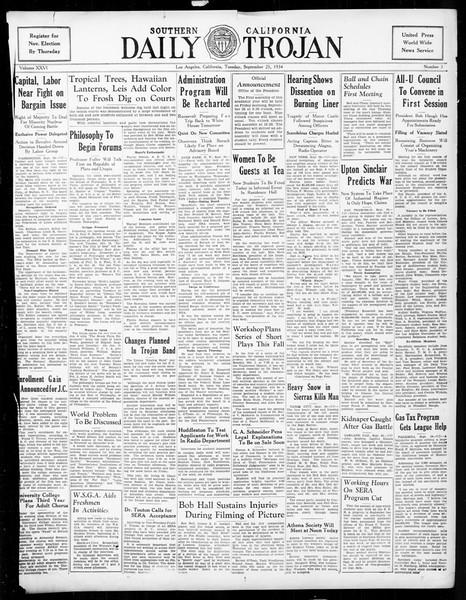 Daily Trojan, Vol. 26, No. 3, September 25, 1934