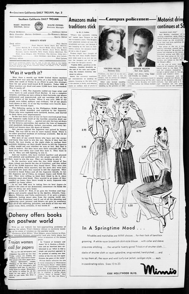 Daily Trojan, Vol. 36, No. 92, April 03, 1945