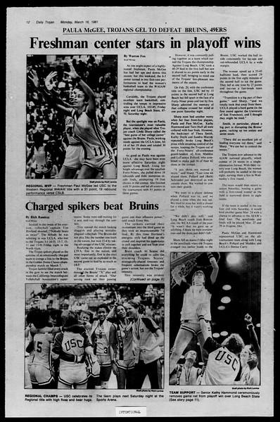 Daily Trojan, Vol. 90, No. 27, March 16, 1981