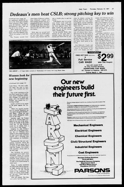 Daily Trojan, Vol. 90, No. 7, February 12, 1981