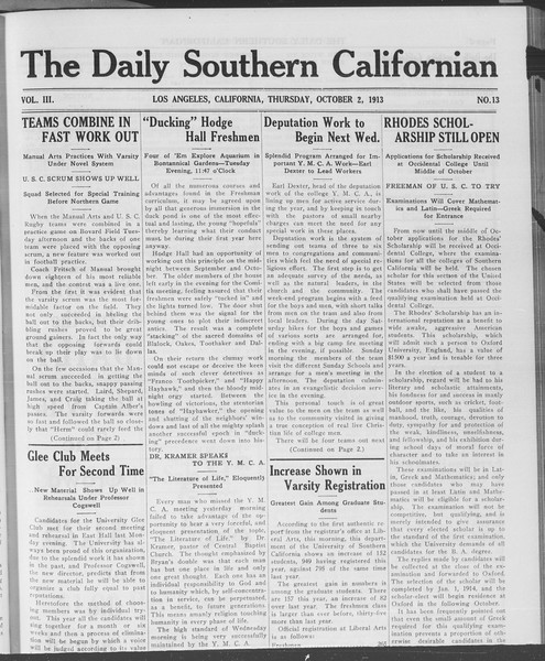 The Daily Southern Californian, Vol. 3, No. 13, October 02, 1913