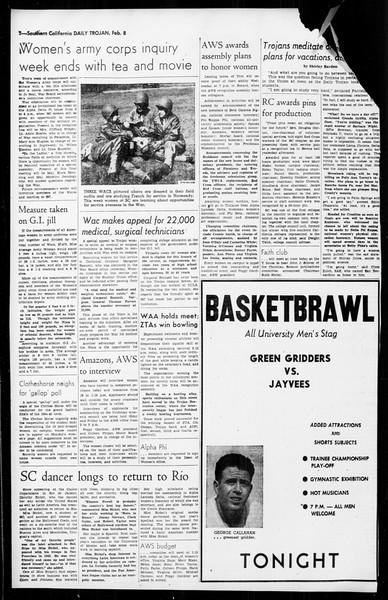 Daily Trojan, Vol. 36, No. 64, February 08, 1945