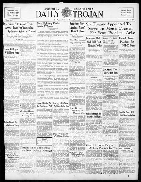 Daily Trojan, Vol. 26, No. 17, October 15, 1934