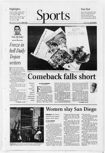 Daily Trojan, Vol. 141, No. 55, November 15, 2000