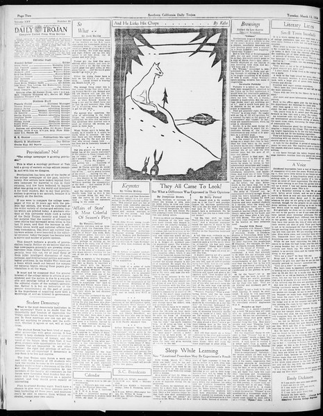 Daily Trojan, Vol. 25, No. 95, March 13, 1934