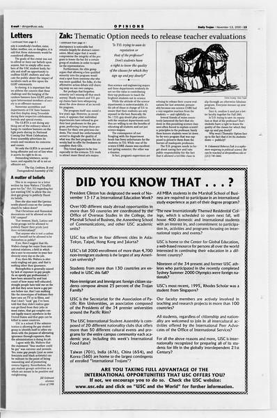 Daily Trojan, Vol. 141, No. 53, November 13, 2000