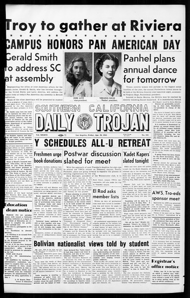Daily Trojan, Vol. 36, No. 105, April 20, 1945