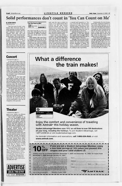 Daily Trojan, Vol. 141, No. 51, November 09, 2000