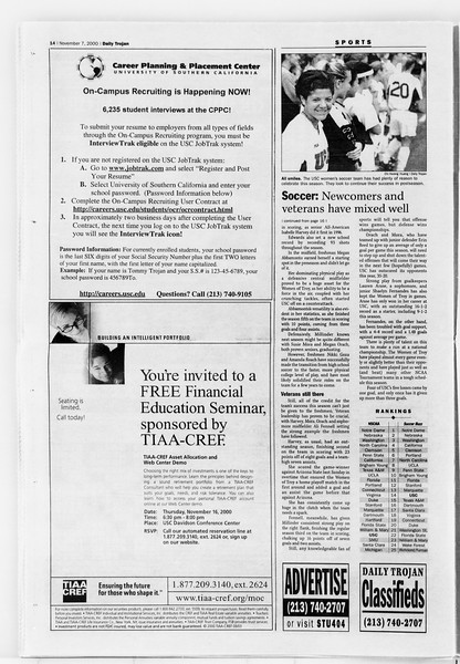 Daily Trojan, Vol. 141, No. 49, November 07, 2000