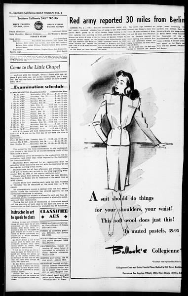 Daily Trojan, Vol. 36, No. 60, February 02, 1945