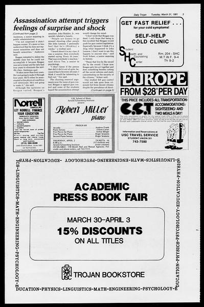Daily Trojan, Vol. 90, No. 37, March 31, 1981