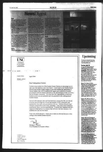 Daily Trojan, Vol. 151, No. 60, April 20, 2004