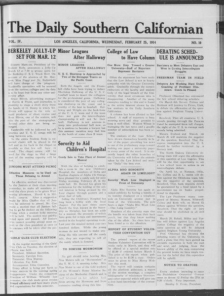 The Daily Southern Californian, Vol. 4, No. 10, February 25, 1914