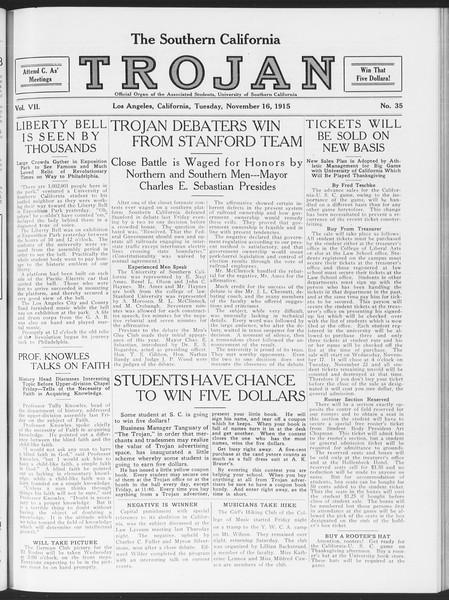 The Southern California Trojan, Vol. 7, No. 35, November 16, 1915
