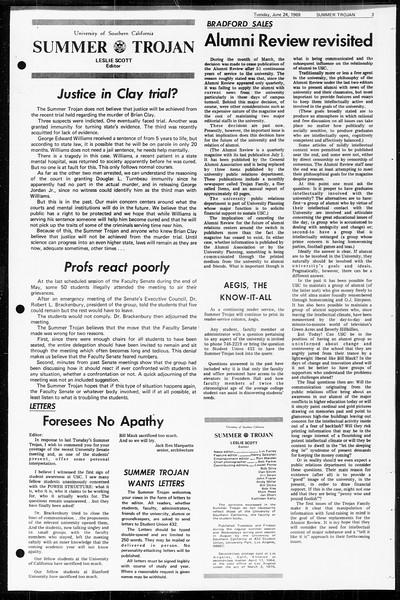 Summer Trojan, Vol. 60, No. 3, June 24, 1969