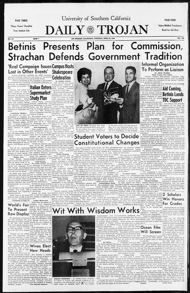 Daily Trojan, Vol. 55, No. 104, April 23, 1964