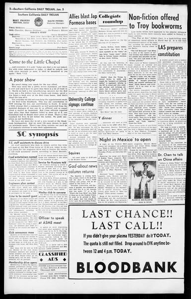 Daily Trojan, Vol. 36, No. 40, January 05, 1945