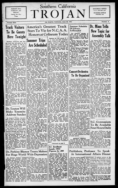 Southern California Trojan, Vol. 13, No. 2, June 22, 1934