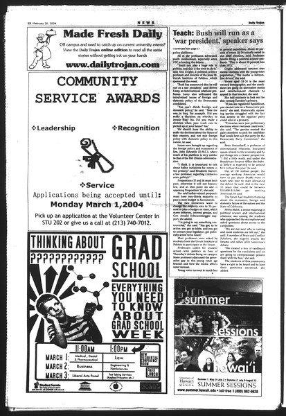Daily Trojan, Vol. 151, No. 29, February 26, 2004