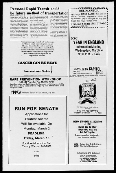 Daily Trojan, Vol. 90, No. 16, February 26, 1981
