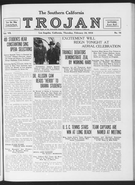 The Southern California Trojan, Vol. 7, No. 75, February 24, 1916