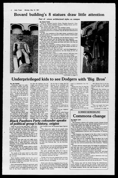Daily Trojan, Vol. 90, No. 64?, May 18, 1981