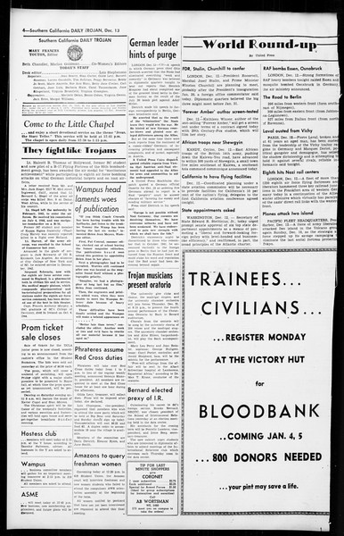 Daily Trojan, Vol. 36, No. 26, December 13, 1944