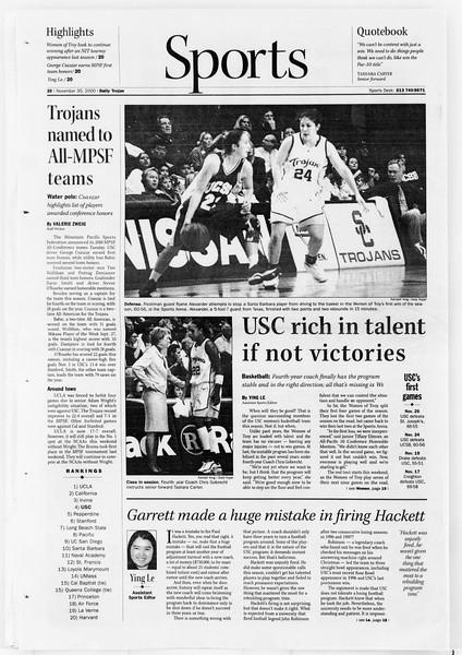 Daily Trojan, Vol. 141, No. 62, November 30, 2000