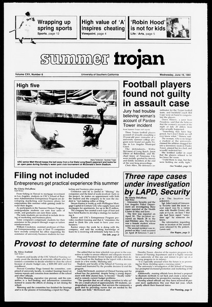 Summer Trojan, Vol. 115, No. 6, June 19, 1991