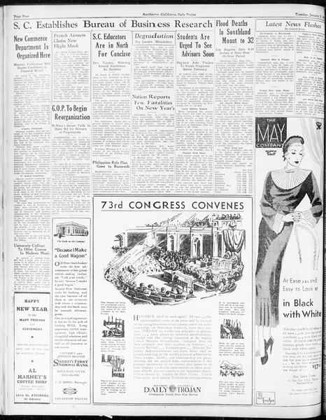 Daily Trojan, Vol. 25, No. 54, January 02, 1934