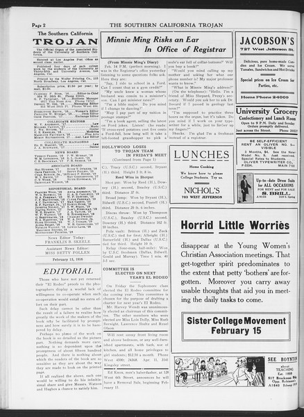 The Southern California Trojan, Vol. 7, No. 71, February 15, 1916