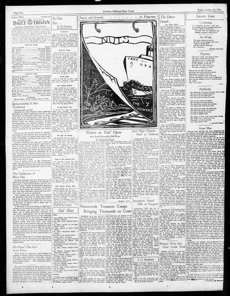 Daily Trojan, Vol. 26, No. 26, October 26, 1934
