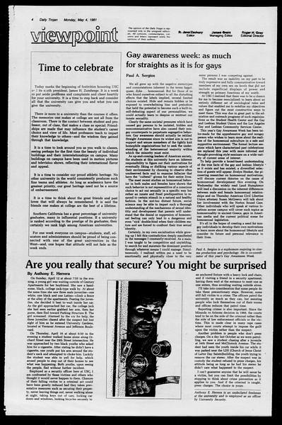Daily Trojan, Vol. 90, No. 54, May 04, 1981