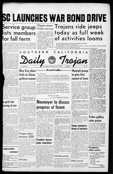 Southern California Daily Trojan, Vol. 36, No. 10, November 20, 1944