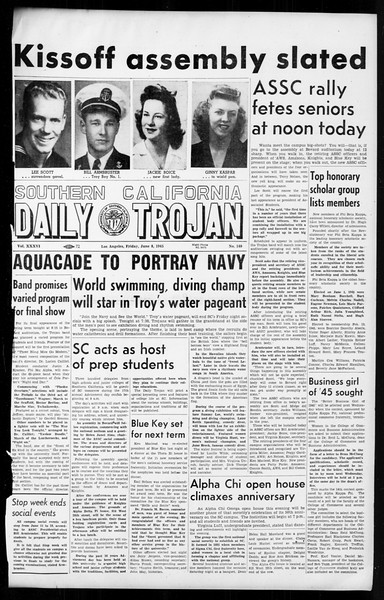 Daily Trojan, Vol. 36, No. 140, June 08, 1945