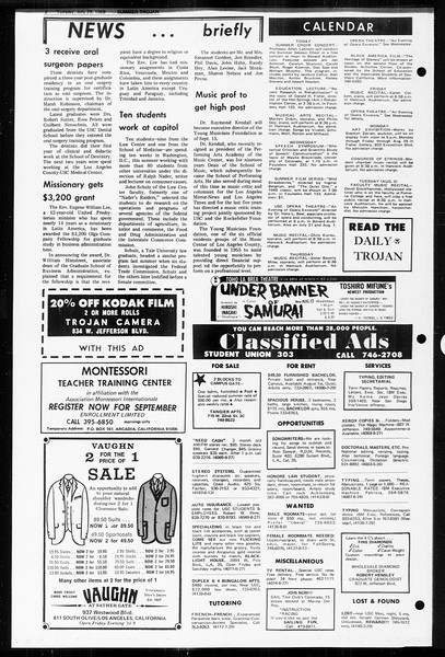 Summer Trojan, Vol. 60, No. 12, July 29, 1969