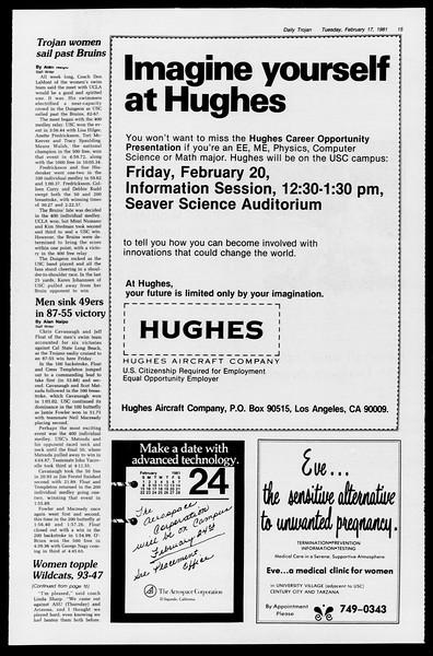 Daily Trojan, Vol. 90, No. 9, February 17, 1981