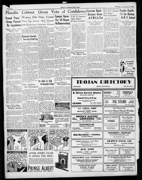 Daily Trojan, Vol. 26, No. 37, November 14, 1934