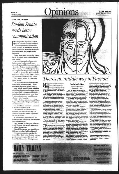 Daily Trojan, Vol. 151, No. 30, February 27, 2004