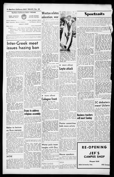 Daily Trojan, Vol. 36, No. 17, November 30, 1944