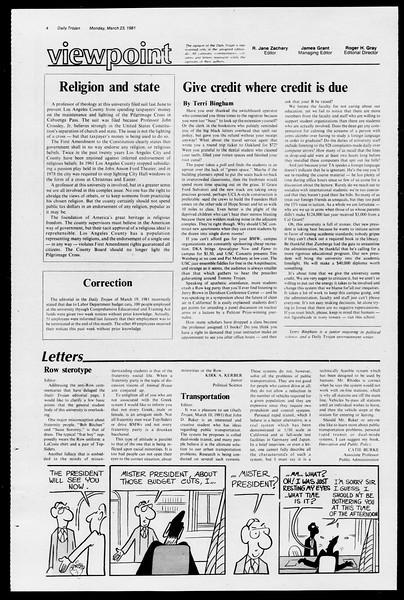 Daily Trojan, Vol. 90, No. 32, March 23, 1981