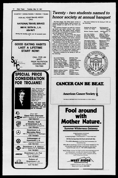 Daily Trojan, Vol. 90, No. 60, May 12, 1981