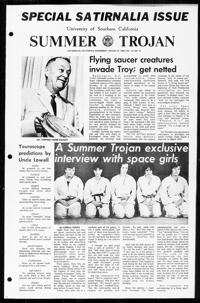 Summer Trojan, Vol. 60, No. 16, August 27, 1969