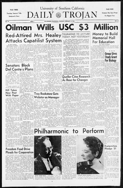 Daily Trojan, Vol. 55, No. 61, February 13, 1964
